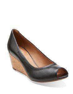Clarks Burmese Art Leather Wedges Women's Black 7