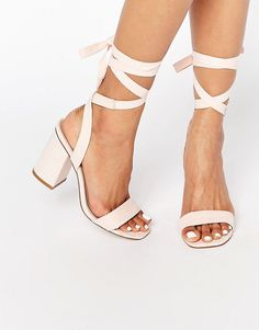 Image 1 of ASOS HANDSHAKE Lace Up Heeled Sandals