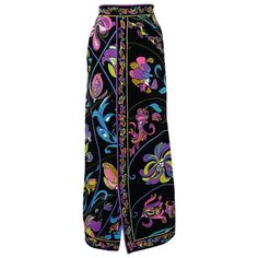 fae62fefe72f Emilio Pucci 1960S Velvet Floral Print A-Line Skirt