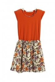 Shoulder Pads Flower Hem Orange Dress  $34.99    romwe.com #Romwe