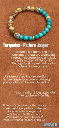 The confidence to see & face the bigger picture is the manifestations of this Picture Jasper and Turquoise gemstone bead bracelet. Tibetan Silver Rondelles and Coconut Heishis help define this as a ma