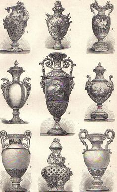 Various styles of urns
