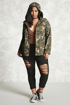 e6c45e4b2330 Plus Size Camo Patch Jacket - Plus Size - Outerwear - 2000228304 - Forever  21 Canada
