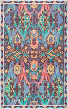 Rugs USA Multi Radiante Wild Pastel Garden rug - Bohemian Rectangle x Floral Area Rugs, Yellow Area Rugs, Teal Rug, Rental Decorating, Decorating Ideas, Weaving Textiles, Rugs Usa, Vintage Colors, Throw Rugs