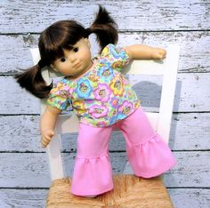 American Girl Bitty Baby Twin Silly Monkey Peasant Top and Pink Ruffle Pants. $18.00, via Etsy.