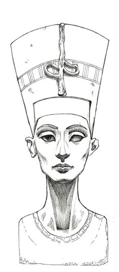 This is a skecht of Nefertiti sculpture made with markers. Please visit this interesting page about the beautiful queen Nefertititi by Kem Royale :[link. Nefertiti Lines Art Drawings Sketches, Tattoo Sketches, Osiris Tattoo, Nefertiti Tattoo, Nefertiti Bust, Queen Nefertiti, Cleopatra Tattoo, Egyptian Drawings, Egypt Art