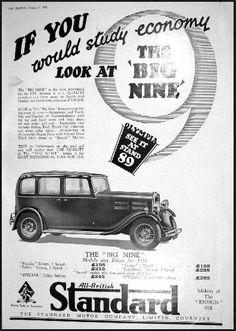 1930 Standard Motor Car Olympia Advertisement Triumph Car, Nostalgic Art, British Car, Classic Mercedes, Car Advertising, Retro Cars, Print Ads, Old Cars, Vintage Ads