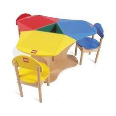 Lego Kids Table Chairs Wood Play Building Blocks Preschool Duplo Classroom Build