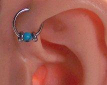 Beaded Captive Ring - 18 Gauge 16 Gauge 14 Gauge Choose Size - Tragus - Cartilage - Helix - Daith - TURQUOISE - Rook Helix Eyebrow Rook