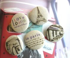 Fabric Buttons Fridge Magnets Covered Buttons Large by RetroNaNa, $7.00 Paris France Travel, Paris Cafe, Covered Buttons, Blame, Badges, Theory, Script, Magnets, Retro