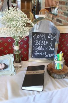 Baby Dedication, christening, baptism decor. Bible guest book.