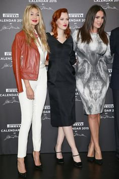 Candice Huffine Photos - (L-R)  Gigi Hadid, Karen Helson, Candice Huffine attend the 2015 Pirelli Calendar Press Conference on November 18, 2014 in Milan, Italy. - Pirelli Calendar Press Conference