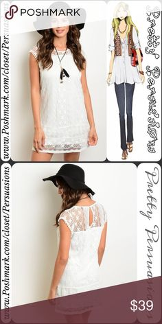 "NWT Ivory White Lace Crochet Shirt Dress NWT Ivory White Lace Crochet Dress  Available in sizes S, M, L Measurements taken from a size small  Length: 34"" Bust: 36"" Waist: 34""  Cotton/Nylon   Features  • full lace crochet body • small keyhole at back of neck • cap sleeve • lined  Bundle discounts available  No pp or trades  Item # 1o1-6-22-0350WLD Pretty Persuasions Dresses"