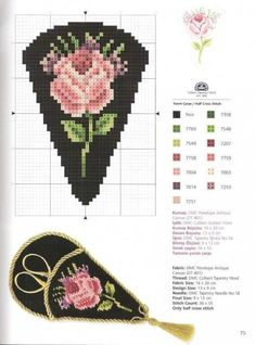 Floral Elegance 2 of 2 Mini Cross Stitch, Cross Stitch Rose, Cross Stitch Flowers, Cross Stitch Charts, Cross Stitch Designs, Cross Stitch Patterns, Loom Patterns, Beading Patterns, Embroidery Patterns