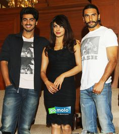 Bollywood stars: Priyanka Chopra, Ranveer Singh & Arjun Kapoor at the press meet of upcoming movie 'Gundey'    Pics: http://www.gomolo.com/gunday-movie-pics/44912?utm_source=socialmedia_medium=pinterest_content=photoslink_campaign=photos