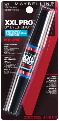 0b511b92abf Maybelline New York XXL Volume Waterproof Mascara, Very Black 523, 0.3 Fluid  Ounce.