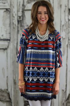 'Merica Bell Sleeve Tunic – The ZigZag Stripe - FREE SHIPPING with code ZZS9 #USA #FourthofJuly