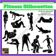 Fitness / Exercise Silhouette Clipart (set of 40) from ClipArt_Lady on TeachersNotebook.com -  (40 pages)  - This set includes 40 fitness themed silhouette images showing various exercise positions and are ideal for creating worksheets, circuit rotation activities or fitness cards.
