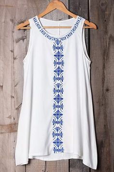 Image of Cupshe After Forever Embroidered Tank Top Teen Fashion Outfits, Boho Outfits, New Outfits, Teaching Outfits, Long Tops, Women Swimsuits, Dress Collection, Ideias Fashion, One Piece