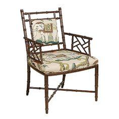 Pearson's 358 faux bamboo chair with fun elephant walk crewel