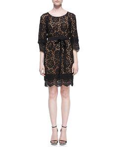 Tie-Waist Scalloped Lace Dress, Black, Women's, Size: 14 - Michael Kors