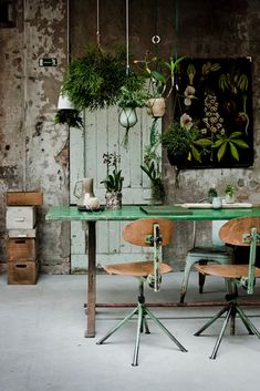 Rustic vibe with greenery