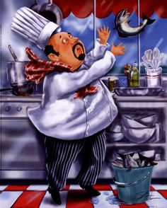 Artist Shari Warren creates humorous chef and waiter art showing them with lots of food and wine perfect for kitchen decor. Fat Chef Kitchen Decor, Kitchen Art, Chef Pictures, Kitchen Pictures, Cartoon Chef, Mosaic Diy, Wall Stickers Home Decor, Le Chef, Cross Paintings