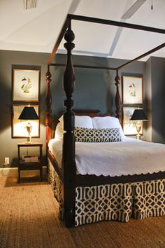 like the dark wall color, bedskirt fabric and rug- cozy Dream Bedroom, Home Bedroom, Bedroom Decor, Master Bedrooms, Boudoir, Home Design, Interior Design, Design Hotel, Design Design