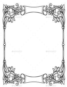 Buy Vintage Decorative Floral Frame by setory on GraphicRiver. Vintage decorative floral frame for restaurant menu forms, certificates and page decoration. Frame Border Design, Boarder Designs, Page Borders Design, Photo Frame Design, Design Web, Type Design, Graphic Design, Borders For Paper, Borders And Frames