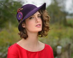 aubergine small brim hat by yellowfield7 on Etsy, $350.00