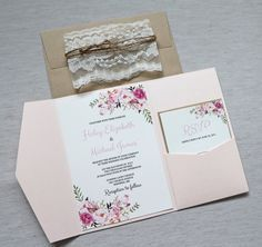 Invitaciones de boda de encaje, invitación de la boda Bohemia florales, invitaciones de boda Boho, rosa florales de la boda invitaciones, acuarela