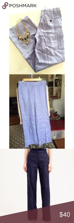 • J. Crew • Light blue • Flare leg • Excellent condition • Stock photo is to show the fit • Measurements upon request • 100% Linen • NO TRADES/HOLDS • All reasonable offers accepted • J. Crew Pants