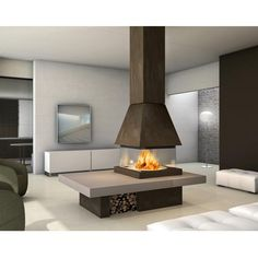 Piazzetta Olden Panoramic Fireplace and Hood. Central wood burning fire with panoramic view of the fuelbed. Outside Fireplace, Home Fireplace, Living Room With Fireplace, Fireplace Design, Fireplace Glass, Fireplaces, Indoor Fire Pit, Log Burning Stoves, Wood Burning