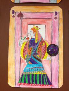 Les cartes de jeu géantes - collages et coloriage - la Reine de pique