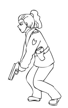 Pictures Police Women Hold Gun Fire Coloring Page