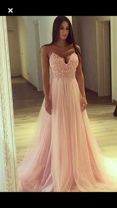 Sexy Spaghetti Straps Prom Dress, Appliques Long Prom