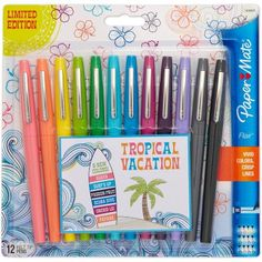 Paper Mate-Flair Medium Felt Tip: Tropical Vacation. These pens are quick-drying and ink will not bleed through paper while writing. This package contains twelve inch long felt tip pens in assorted colors. Stabilo Boss, Cute School Supplies, Erin Condren Life Planner, Marker Pen, Valentine's Day Diy, Pen Sets, Copics, Gel Pens, Markers