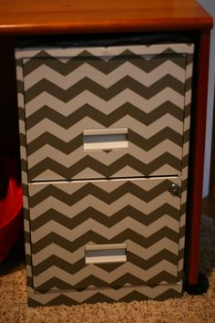 Filing Cabinet covered in chevron contact paper