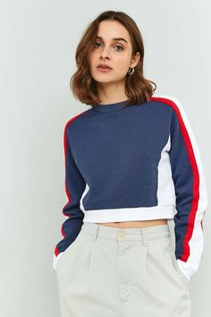 BDG Colour Block Cropped Sweatshirt
