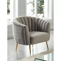 The Dionne Collection Chair with beautiful seashell like tufting will enamor you to this accent seating. It features delicate gold finished metal tapered legs loft the seat up and offer your room a charming addition. welting trim and flannalette fabr. Tufted Accent Chair, Accent Chairs, Furniture Outlet, Home Furniture, Furniture Board, Local Furniture Stores, Contemporary Chairs, Contemporary Style, Chair Side Table