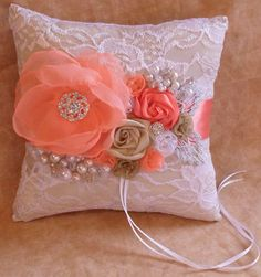 Coral Champagne and White Lace Ring Bearers by NellieKatzDesigns, $40.00