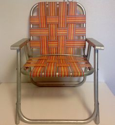 Mid Century Orange And Blue Plaid Webbing Aluminum Kid S Size Folding Lawn Chair