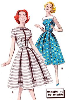 1950s Dress Pattern Butterick 9602 Day or Evening Dress Full Skirt Womens Vintage Sewing Pattern Bust 36.via Etsy.