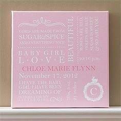 You can create your own beautiful canvas collage for your baby's nursery! It comes in pink, blue and khaki and you create your own a personal collage with the baby's full name, date of birth, time of birth, weight, length and their single initial monogram. This will look SO beautiful on the wall and you'll be able to save it forever!