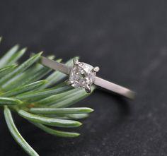 Vintage Old Mine Cut Diamond .37 carat 14k White Gold Cushion