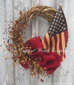 Americana Spirit Wreath with Tea Stained Flag ~A New England Wreath Company Designer Original~
