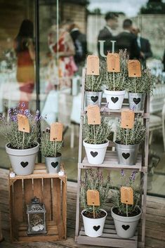Creative DIY Rustic Lavender Wedding – Hochzeit Ideen – – All About Wedding - Wedding Table Wooden Crates Wedding, Ladder Wedding, Wedding Table Centerpieces, Flower Centerpieces, Wedding Decorations, Table Wedding, Potted Plant Centerpieces, Centerpiece Ideas, Quirky Wedding