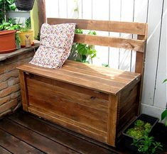 Pallet patio bench with storage pallet furniture projects Entryway Bench Storage, Bench With Storage, Patio Storage, Pallet Storage, Storage Benches, Patio Bench, Pallet Bench, Recycled Pallet Furniture, Wooden Furniture