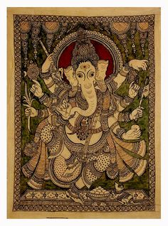 Kalamkari Painting Mysore Painting, Kalamkari Painting, Madhubani Painting, Buddha Painting, Mural Painting, Fabric Painting, Ancient Indian Art, Indian Folk Art, Ganesha Art