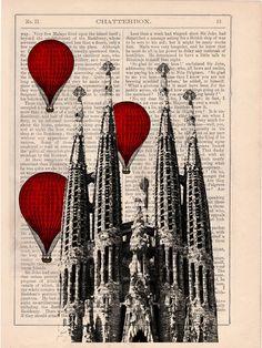 Vintage Book Print - Barcelona Sagrada Familia Balloon Ride Print on Vintage Book art Gaudi Holy Family. $6.99, via Etsy.